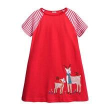 цена на Elvesnest Children Girls Dress Cartoon Pony Dress For Girls Cotton Short Sleeve Toddler Girl Dresses Summer Dresses 1-6 Years