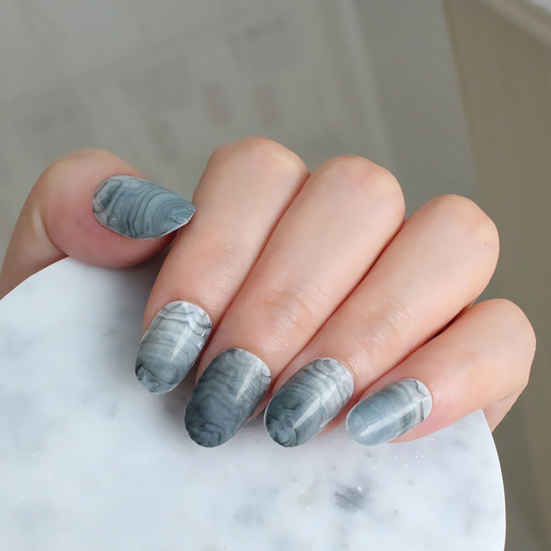 24Pcs/Set Fake Nail Tips Marble Lines Oval Type Manicure Nail Tips Decor 998