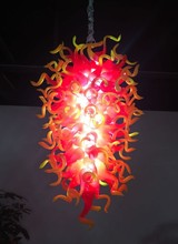 Firework Rising Flames Large Hand Blown Glass Chandelier Luxury Orange Gold Chandeliers Lamp Suspended Lamps