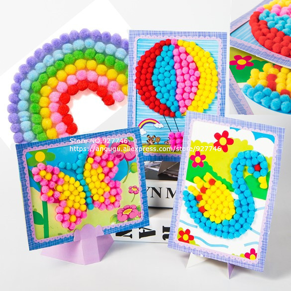 Children Handmade Material Baby Kids Creative DIY Plush Ball Painting Stickers Cartoon Puzzles Toy BS138
