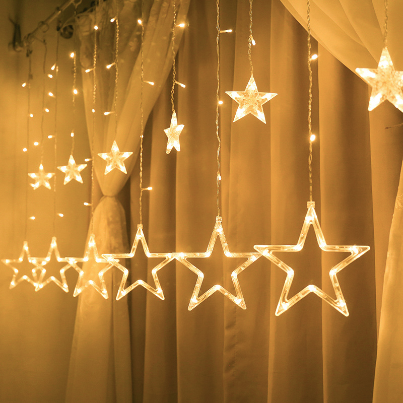 Christmas Fairy Lights Festoon Led String Lights Star Garland on Window Curtain Indoor Tree Decoration Halloween Wedding Light