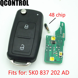 QCONTROL 2 BT Remote Car Key 433MHz ID48 Chip For VW Volkswagen GOLF PASSAT Tiguan Polo Jetta Beetle 5K0 837 202AD 5K0837202AD