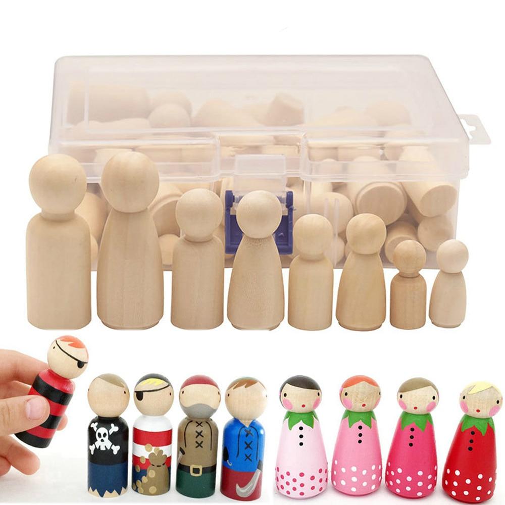 50 unids/set de juguetes de madera sin pintar para niños DIY Color pintura chica chico cuerpos de muñecos habitación decoraciones artes y artesanías