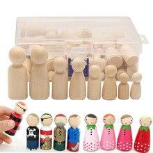 50 unids/set sin pintar de madera Peg juguetes para niños DIY Color pintura chico cuerpos de muñecos decoración de la habitación de artes y oficios