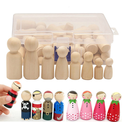 50Pcs/Set Unpainted Wooden Peg Dolls Toys For Children DIY Color Painting Girl Boy Doll Bodies Room Decorations Arts And Crafts