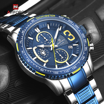 NAVIFORCE Mens Quartz Multifunction Chronograph Sports Watches Fashion Waterproof Military Top Luxury Stainless Steel Wristwatch 1