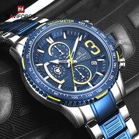 NAVIFORCE-relojes deportivos multifunción para hombre, de cuarzo, resistente al agua, de pulsera, de acero inoxidable, Militar