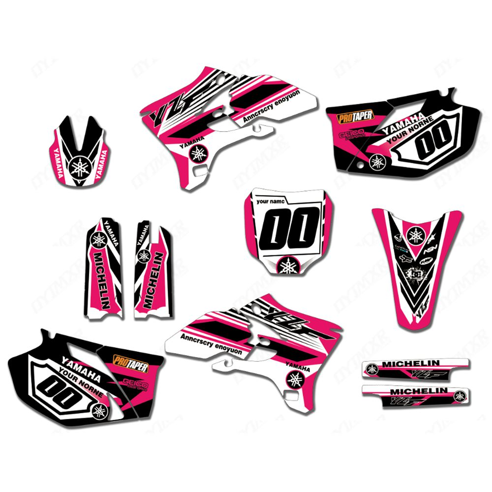 New Full Graphics Decals Stickers Custom Number Name Glossy Bright Stickers Waterproof For 2003-2005 YAMAHA YZF250 YZF450