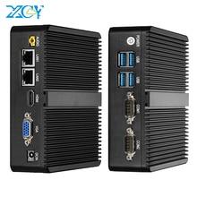 Fanless mini pc intel celeron j1900 windows 10 duplo nic gigabit etherent 2x rs232 hdmi vga wifi 4xusb linux computador industrial