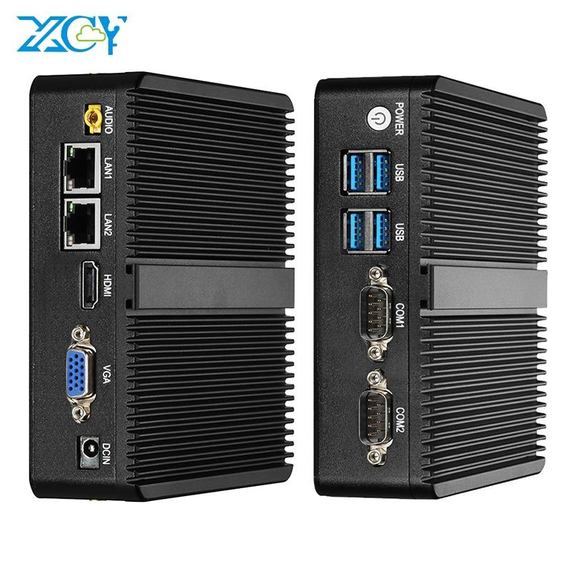 Fansız Mini PC Intel Celeron J1900 Windows 10 çift NIC Gigabit ethernet 2x RS232 HDMI VGA WiFi 4xUSB Linux endüstriyel bilgisayar