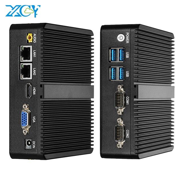 ファンレスミニpcインテルceleron J1900 windows 10デュアルnicギガビットetherent 2x RS232 hdmi vga wifi 4xusb linux産業用コンピュータ