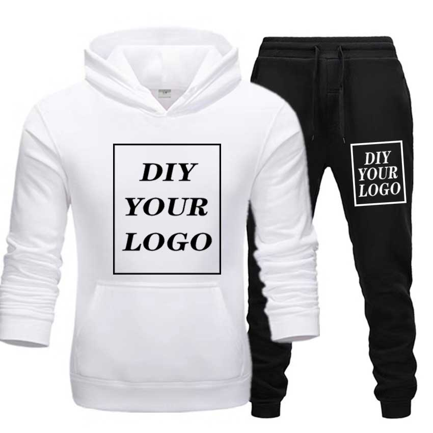 Customized logo Print Hoodies and pants thick Sweatshirt Comfortable Unisex DIY Logo Streetwear tracksuit DropShipping Pullovers