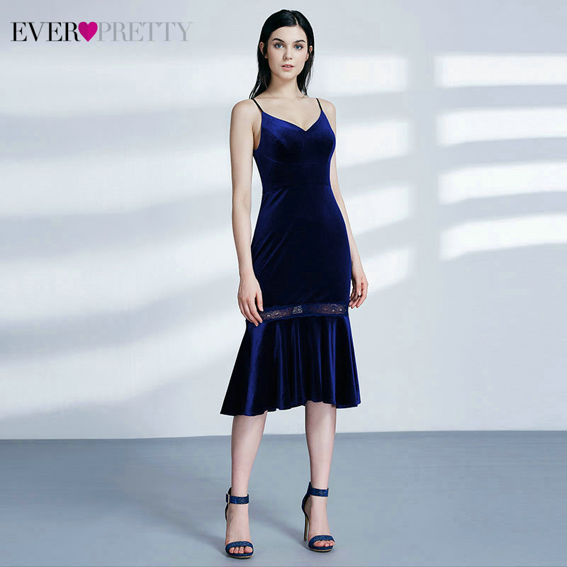Sexy Velour Cocktail Dresses Ever Pretty EP07331MB V-Neck Spaghetti Straps Sleeveless Mermaid Party Gowns Vestido Coctel 2020