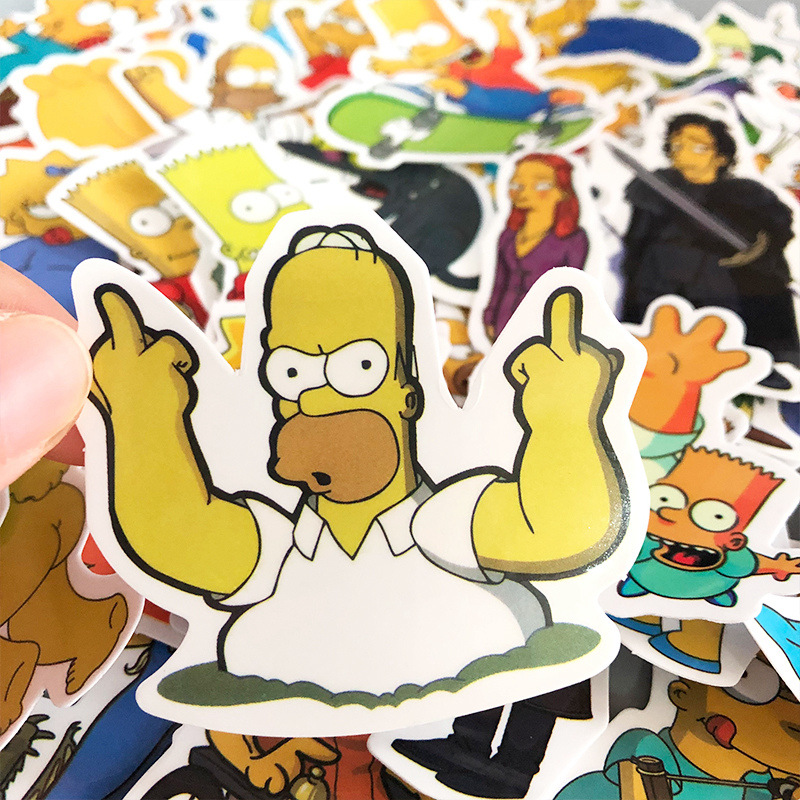 50pcs Cartoon Simpsons Waterproof PVC Children DIY Stickers Skateboard Guitar Suitcase Graffiti Sticker Kids Classic Toy 4