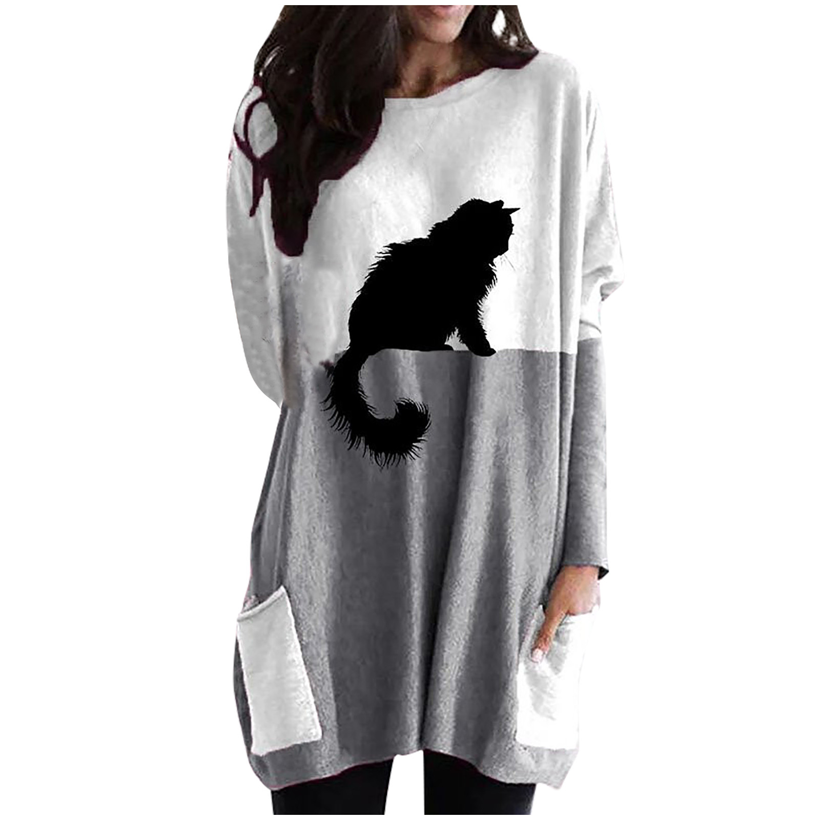 Women Oversized Sweatshirts Dress Christmas Monochrome Reindeer Print Drawstring Hoodie Dress Winter Warm Dresses Falda