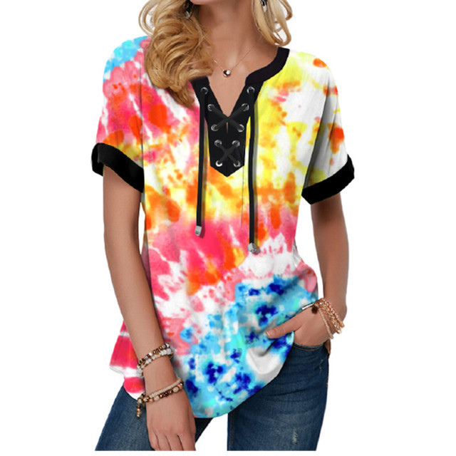 New Summer Women Blouses 3D Print Tie Dye Gradient Tops Casual Short Sleeve V-Neck Lace Up Oversize Shirt 5XL Loose Tops 6