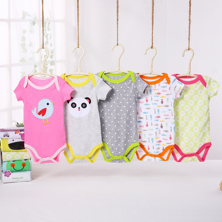 Infant Childrenswear Europe And America Crawling Clothes Infants Child Romper Men And Women Pure Cotton Onesie Thin Summer Child