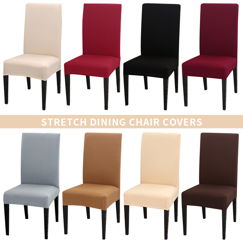 Gray Solid Color Chair Cover Spandex Slipcovers For Dining Room Stretch Elastic Chair Covers Banquet