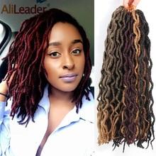 """AliLeader 1"""" 18"""" Натуральные Искусственные локоны в стиле Crochet косичка 20 прядей ombre Nu Locs крючком косички синтетические африканские волосы, наращивание"""