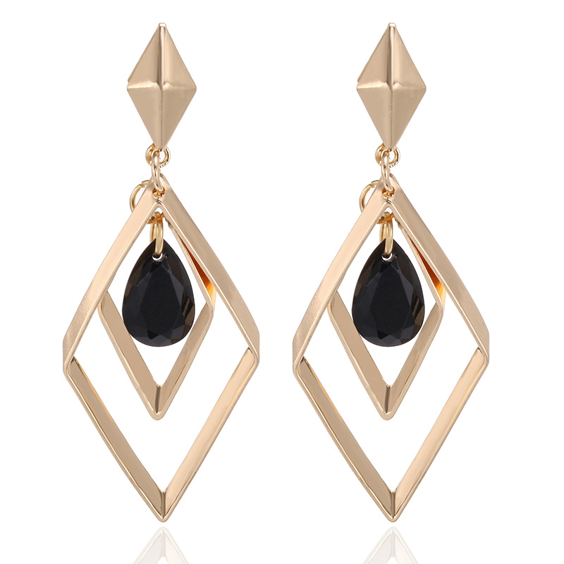 Black Water Drop Crystal Earrings Geometric Lozenge Parallelogram Earrings For Women Fashion Jewelry Oorbellen Aretes De Mujer