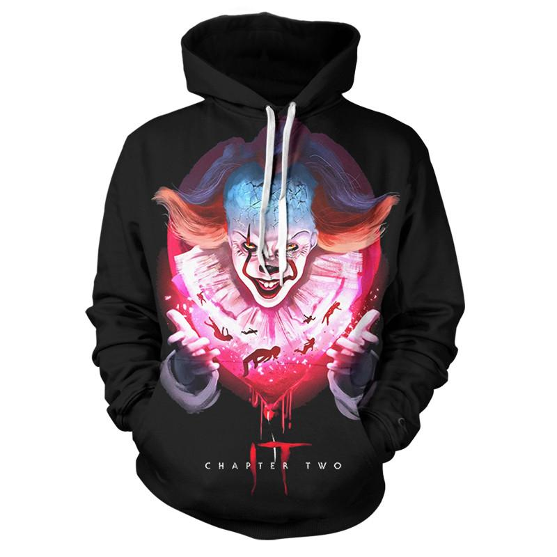2019 New Men Women Pennywise Clown Sweatshirt 3D Print Horror Movie It Chapter Two 3D Hoodies Long Sleeve Top Coat