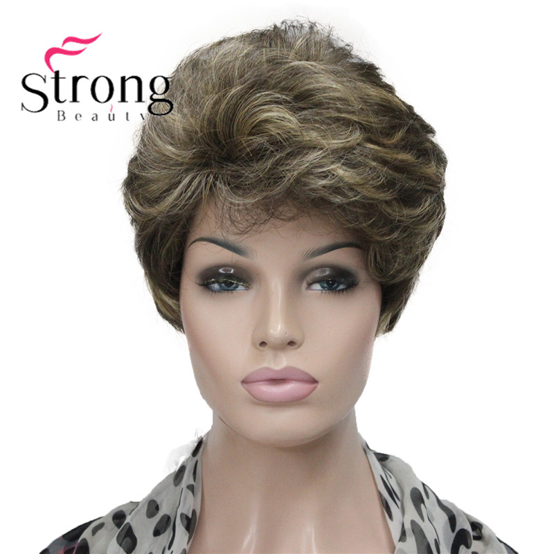 StrongBeauty Short Fluffy Wavy Honey Blonde Highlighted Full Synthetic Wig