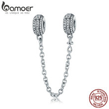 BAMOER New Collection 925 Sterling Silver Round Safety Chain Stopper Charm fit Women Bracelets DIY Jewelry Making Gift SCC812