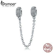 BAMOER nouvelle Collection 925 en argent Sterling ronde chaîne de sécurité bouchon breloque pour femmes Bracelets bijoux à bricoler soi même faisant cadeau SCC812