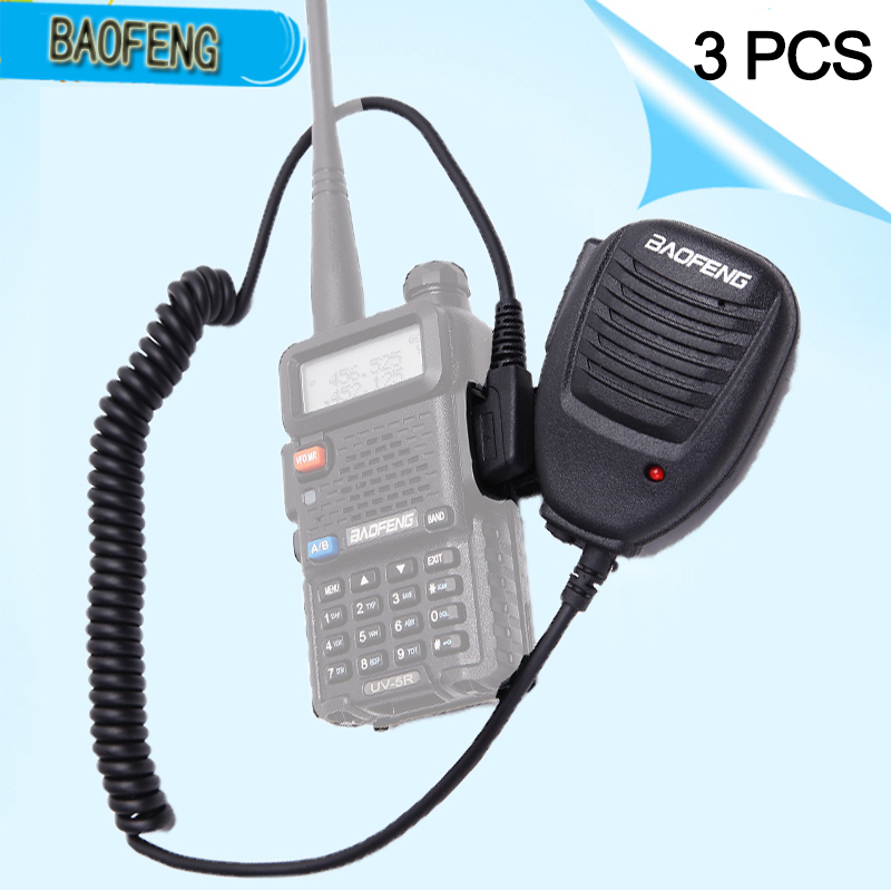 3PCS Original Baofeng Radio Speaker Mic Microphone PTT For Portable Two Way Radio Walkie Talkie UV-5R UV-5RE UV-82 Plus 888s R5
