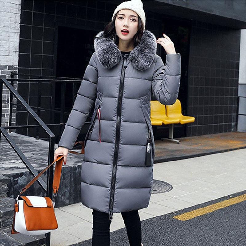Winter Hooded Thicken Down Coat Women Long Warm Slim Down Jackets Vogue Letter Long Sleeve Zipper Outwear Ladies Faux Fur Collar