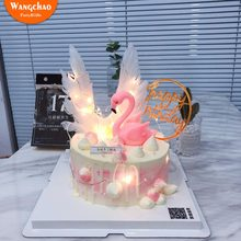 Star Flamingo Angel Wings Happy Birthday Cake Topper Set Acrylic Cake Topper Wedding Decoration Party Decorating Baby Shower(China)