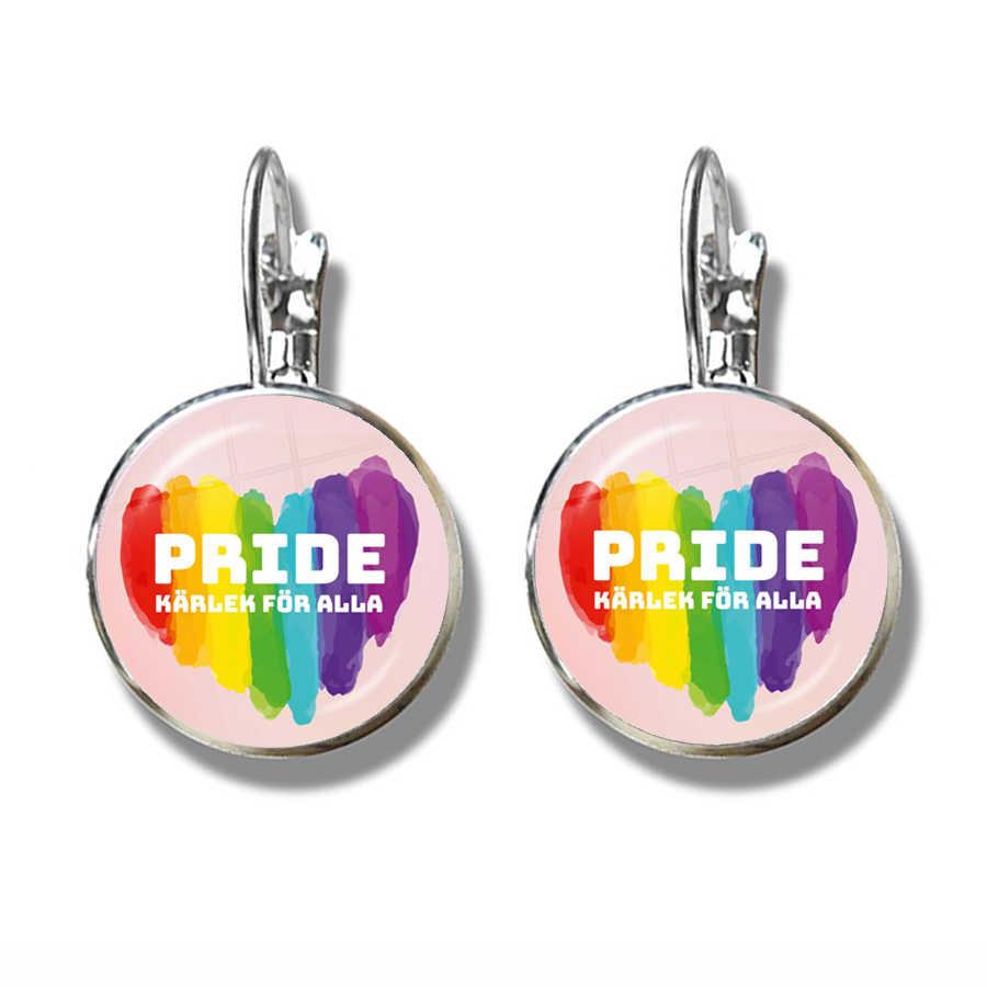 LGBT Orecchini Bi Orgoglio 16 millimetri di Vetro Cabochon Gay Pride Arcobaleno Bandiera Foto Francese Ganci Orecchini Dei Monili Per Le Donne Degli Uomini gli amanti del Regalo
