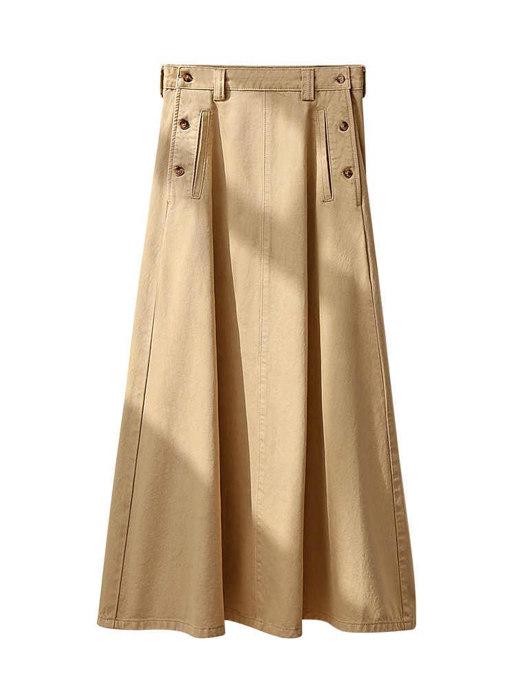 Amii Minimal francuska elegancka spódnica temperamentowa damska nowa rozrywka w kształcie litery A bawełniana jeansowa spódniczka 11940492