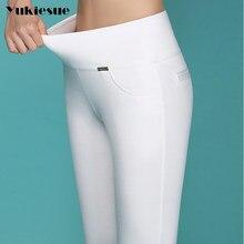 Calças de lápis de alta qualidade capris 2018 verão estilo cintura alta elástica calças magras femininas mulher pantalon femme