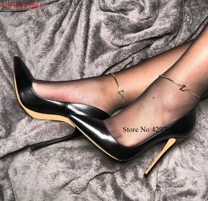 Image 1 - 브랜드 신발 여성 하이힐 여성 신발 펌프 여성용 Stilettos 신발 블랙 브라운 하이힐 12CM 무광택 가죽 웨딩 슈즈