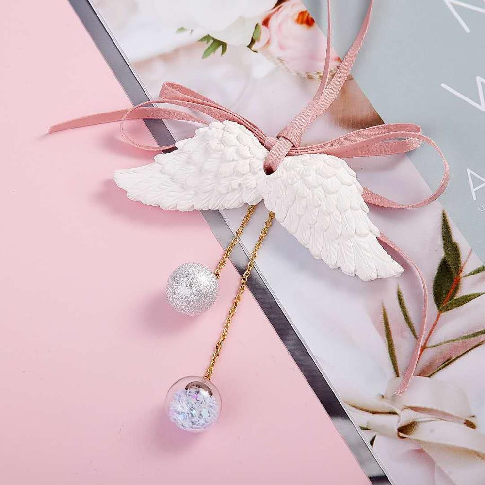 Image 5 - Car Pendant Angel Wing Aromatherapy Car Rearview Mirror Pendant Angel Wings Water Tone Bell Pink Girl Heart CAR028-in Ornaments from Automobiles & Motorcycles