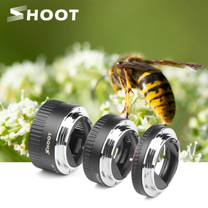 Image 1 - SHOOT Red Metal TTL Auto Focus Macro Extension Tube Ring for Canon 600D 550D 200D 800D EOS EF EF S 6D for Canon Camera Accessory