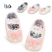 B&G Lace Girl Princess Shoes Baby Toddler Shoes Butterfly Soft Non-slip Walking Shoes Baby First Walkers