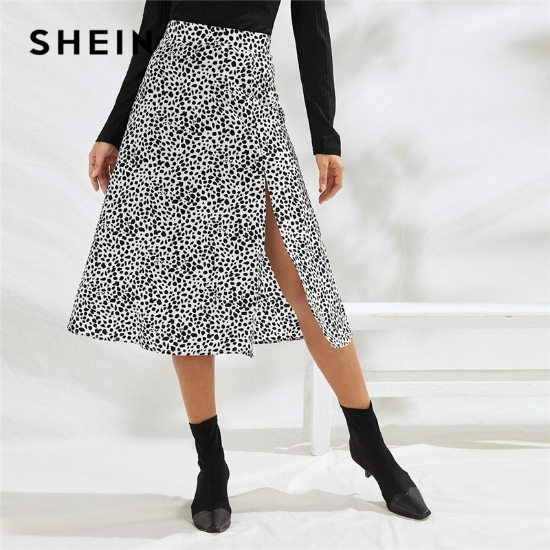 SHEIN Black And White All Over Print Split Thigh Sexy Skirt Women Bottoms 2019 Autumn Fashion Ladies Zipper Midi A Line Skirts