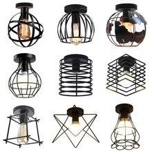 Lámpara de techo Led de estilo nórdico para el hogar, luz moderna de color negro minimalista para decoración de pasillo de casa, dormitorio, cocina, Interior, Loft, cuadrado, Estrella redonda, E27