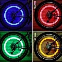 자전거 LED 라이트 타이어 밸브 캡, 자전거 플래시 라이트, 산악 도로 자전거 사이클링 타이어 휠 조명, LED 네온 램프 밸브 램프, 2 개