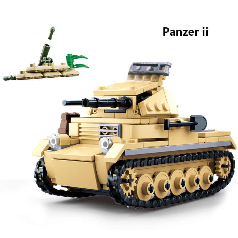 WW2 المركبات العسكرية الألمانية دبابة نموذج بنة بانزر الثاني الرابع السوفياتي T34 طائرة شاحنة الجنود أرقام لعبة البناء