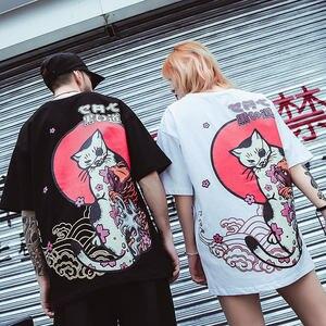 Image 4 - 2020 Hip Hop T shirt hommes japonais Ukiyo E chat T shirt Harajuku Streetwear T shirt décontracté à manches courtes été hauts T shirt japon Style