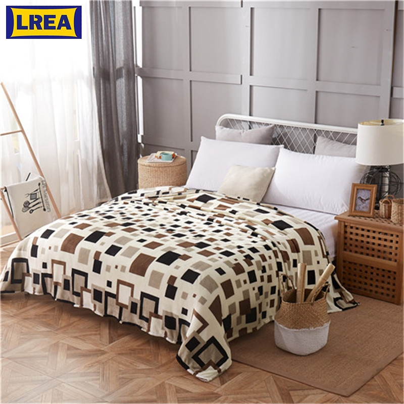 LREA плед Soft And Comfortable Coral Fleece For Bed And Sofa Grid Blankets 4 Kinds Of Sizes Fashionable Style High Quality Throw