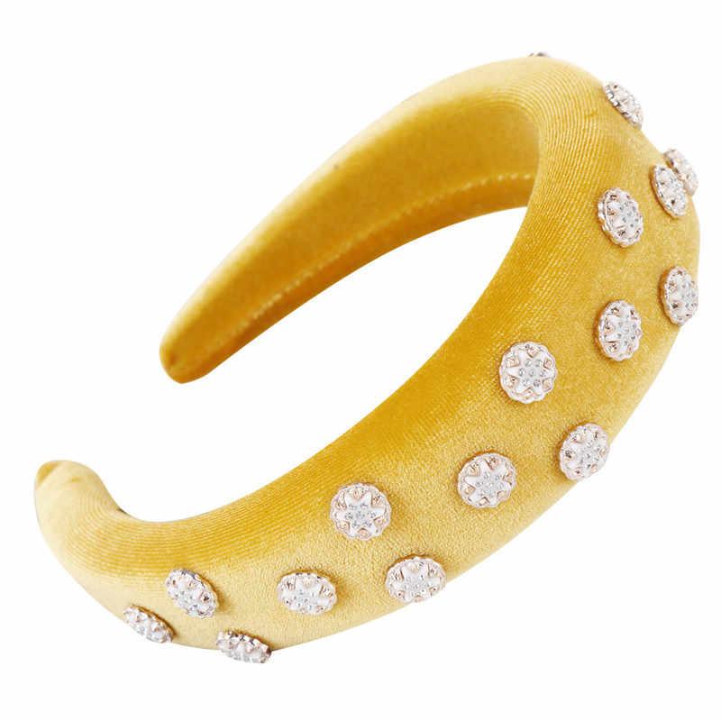 Модная губчатая бархатная повязка на голову со стразами Женская обруч для волос милая резинка для волос женские обручи opaska 30Au22
