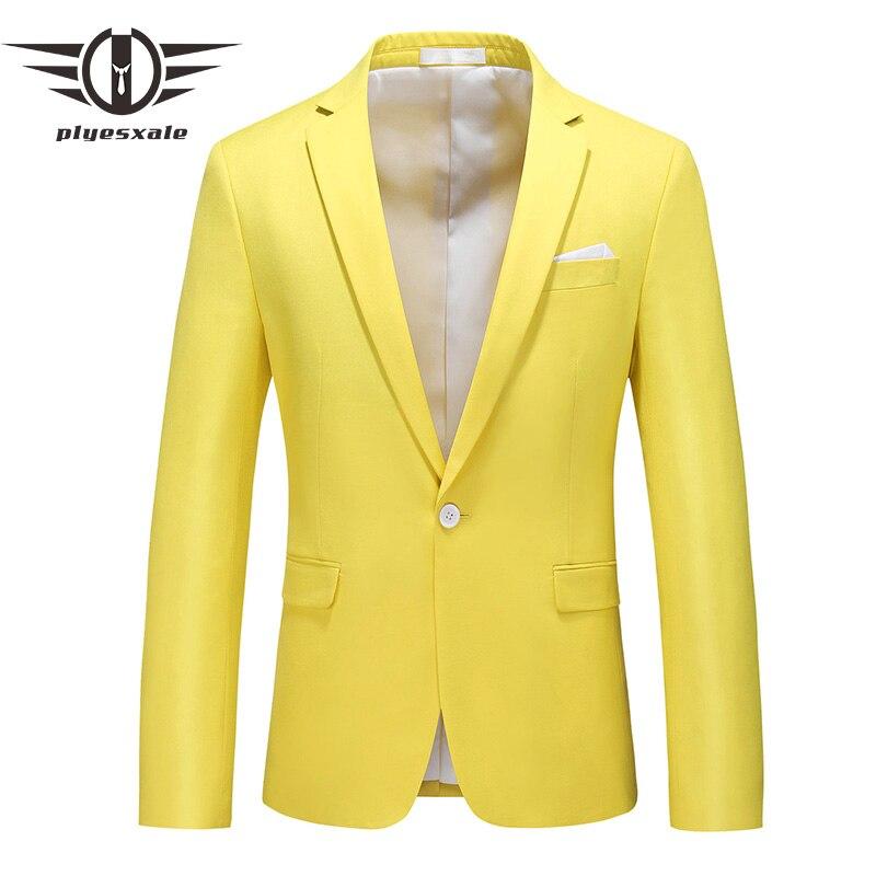 Blue Green Rose Red Burgundy Lemon Yellow Men Blazer 2020 New Casual Business Formal Blazer Jacket Male Wedding Blazers Q932