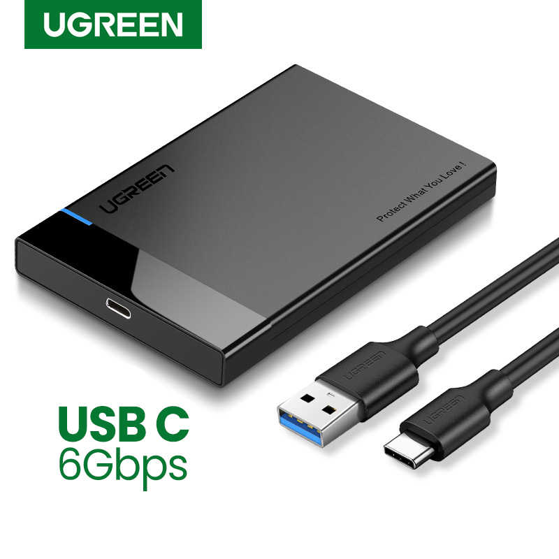 Ugreen HDD Case 2.5 SATA ke USB 3.0 Adapter Hard Drive Enclosure untuk SSD Disk HDD Box Type C 3.1 kasus HD Eksternal HDD Kandang