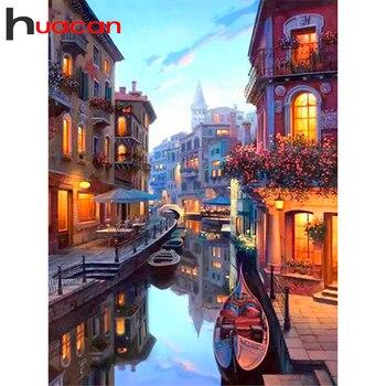 Huacan, pintura de diamante, paisaje cuadrado/redondo, bordado de diamantes 5D para manualidades, Kits para hacer mosaicos, decoración de calle, hogar