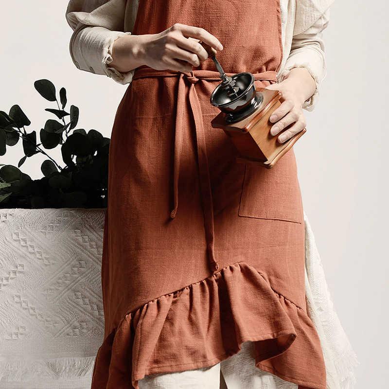สั้น Nordic ลม Mermaid Fairy ฝ้ายผ้าลินินครัวทำอาหารผ้ากันเปื้อนสำหรับชุดผู้หญิงดอกไม้ Shop smock ช่างทำผม bib โลโก้ที่กำหนดเอง