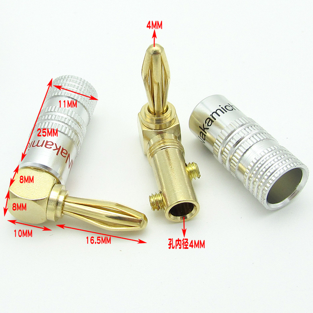 4pc Gold Plated Nakamichi 90 Degree L-Type Banana Connectors Plug Screw Lock